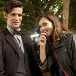 Matt Smith and Jenna Louise-Coleman on the Doctor Who set