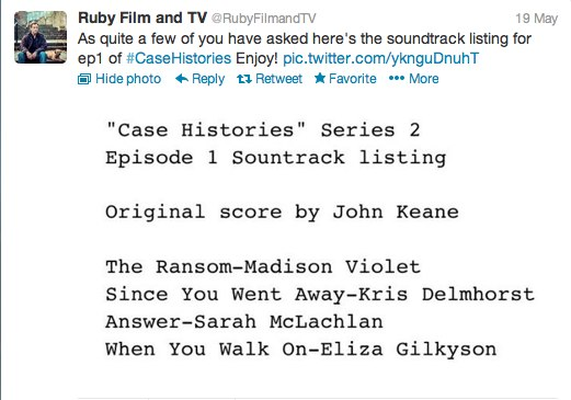 Case Histories S2 E1 soundtrack from Ruby Film and TV
