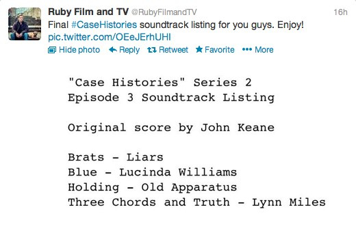 Case Histories S2 E3 soundtrack from Ruby Film and TV