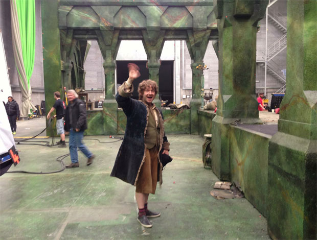 Martin Freeman as Bilbo Baggins waves goodbye to Middle Earth