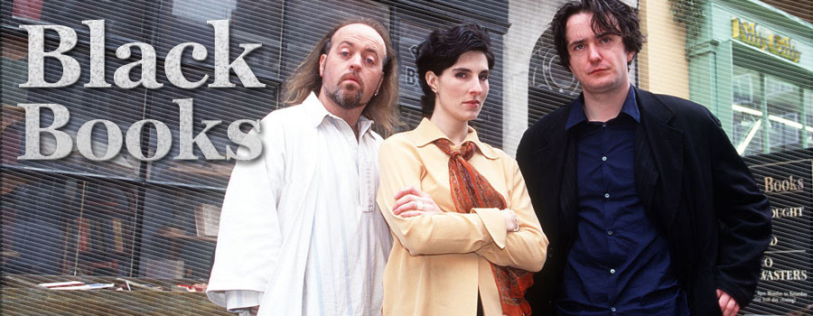 Dylan Moran,  Bill Bailey and Tamsin Greig in Black Books