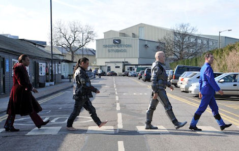 The boys make their way to Shepperton studios for RDX taping