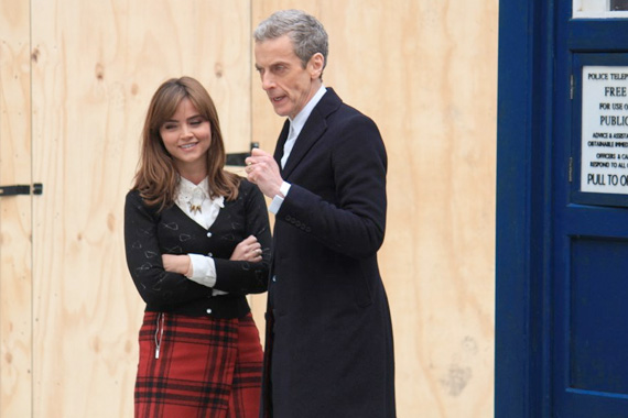 Peter Capaldi and Jenna Coleman on the set of Doctor Who 8