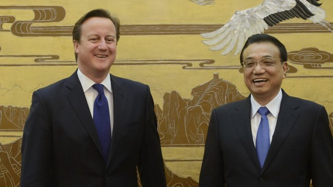 British Prime Minister David Cameron with Chinese Premier Li Keqiang