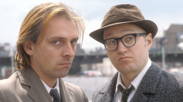 Rik Mayall (left) with Adrian Edmondson (right) in Bottom