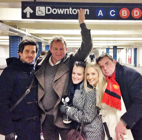 Downton Abbey's Hugh Bonneville corrects and obvious grammatical error on the New York Subway