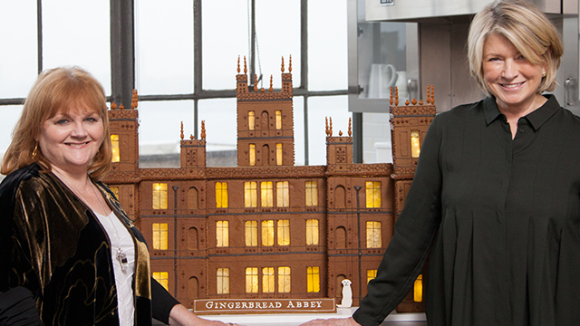 martha stewart and lesley nicol create a gingerbread abbey
