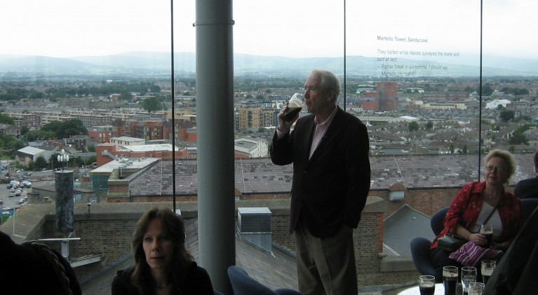 Frank McCourt taping Historic Pubs of Dublin at the Guinness Brewery