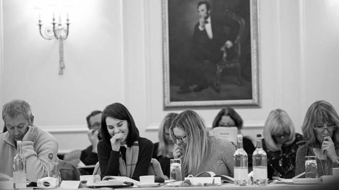Lady Mary and Mrs. Hughes enjoying series 6 read-through