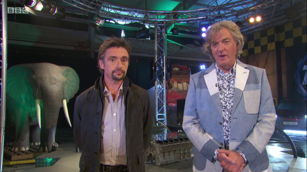 Richard Hammond and James May in the final Top Gear...with the Elephant in the room