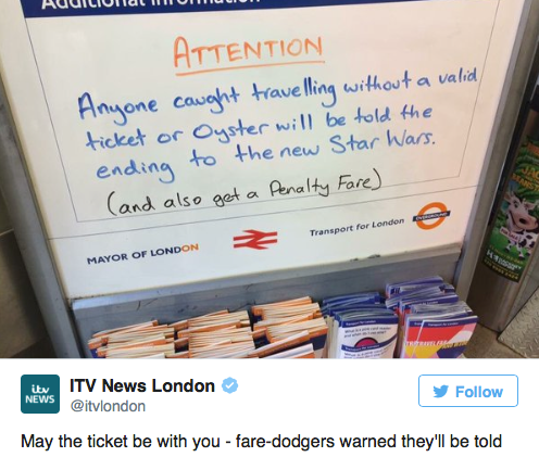 London Underground threatens fare-dodgers with 'Star Wars' spoilers