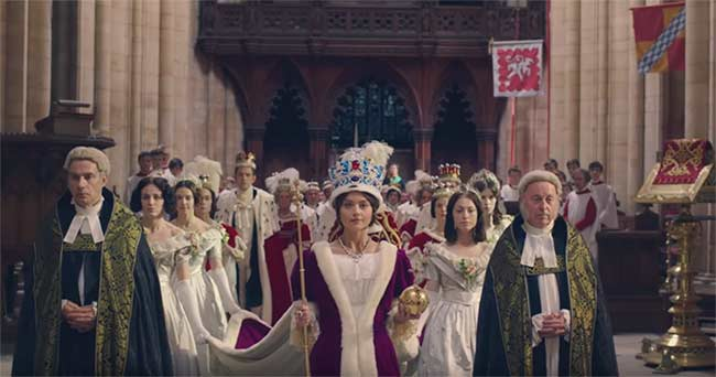 Jenna Coleman as Victoria on PBS' Masterpiece in 2017