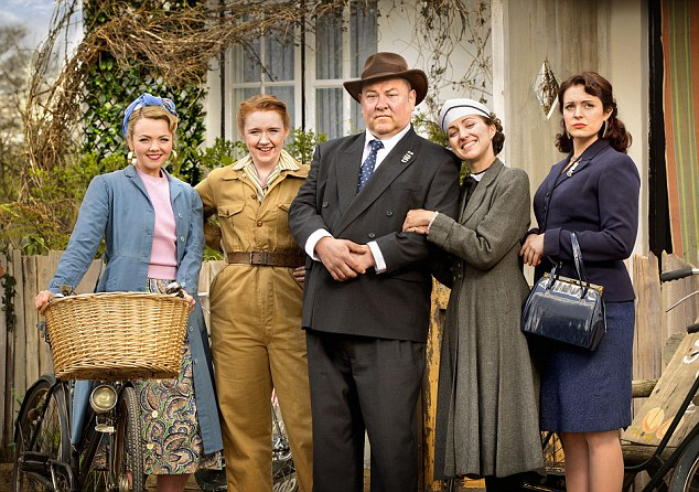 Young Hyacinth L-R Rose (Katie Redford), Daisy Katherine Pearce, daddy ( Mark Addy), Hyacinth (Kerry Howard) and Violet (Tamla Kari) Credit Colin Hutton Image via BBC
