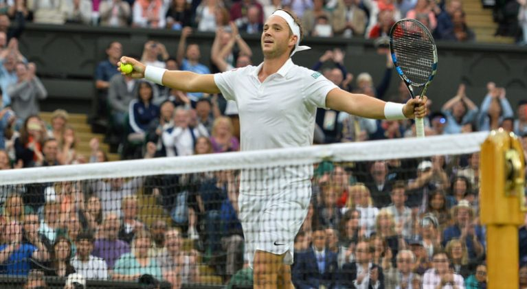 marcus willis celebrates at Wimbledon