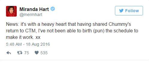 Miranda Hart waves goodbye to Call the Midwife