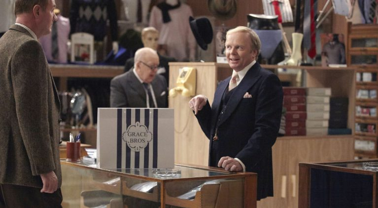 Programme Name: Are You Being Served? - TX: n/a - Episode: n/a (No. n/a) - Picture Shows: Mr Grainger (Roy Barraclough), Mr Humphries (Jason Watkins) - (C) BBC - Photographer: Scott Kershaw