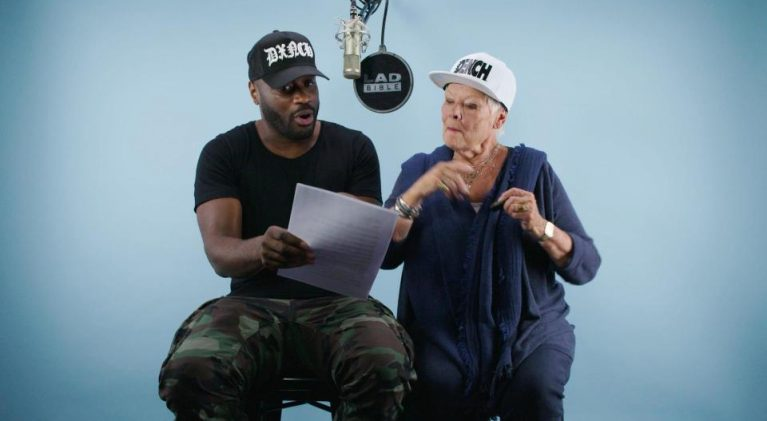 Lethal Bizzle teaches Dame Judi Dench how to rap…no, really!