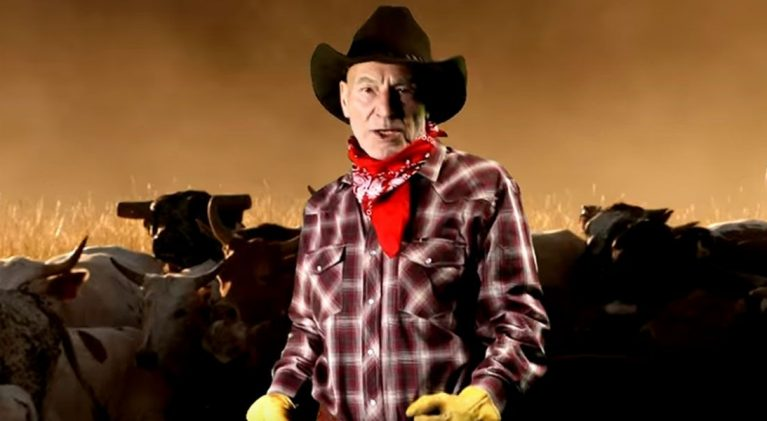 Sir Patrick Stewart is home on the range as country crooner, 'Cowboy Pat'