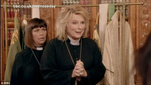 "Dawn French as Geraldine Kennedy and Jennifer Saunders as Reverend Jen in the 2015 ""Vicar of Dibley"" Comic Relief special for Red Nose Day"