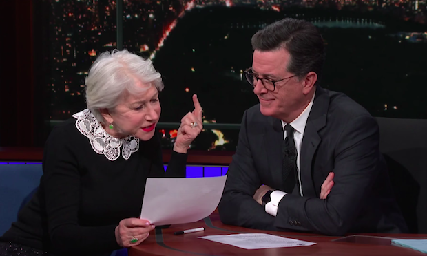 Dame Helen Mirren reduces Stephen Colbert to tears with reading of 'Ulysses'