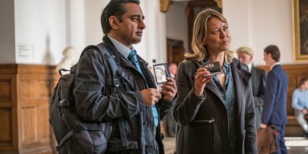 Nicola Walker and Sanjeev Bhaskar as DCI Cassie Stuart and DS Sunil Sunny Khan in Unforgettable