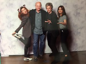 Bill, second from left, with Twelfth Doctor Peter Capaldi along with Michelle Gomez and Jenna Coleman.