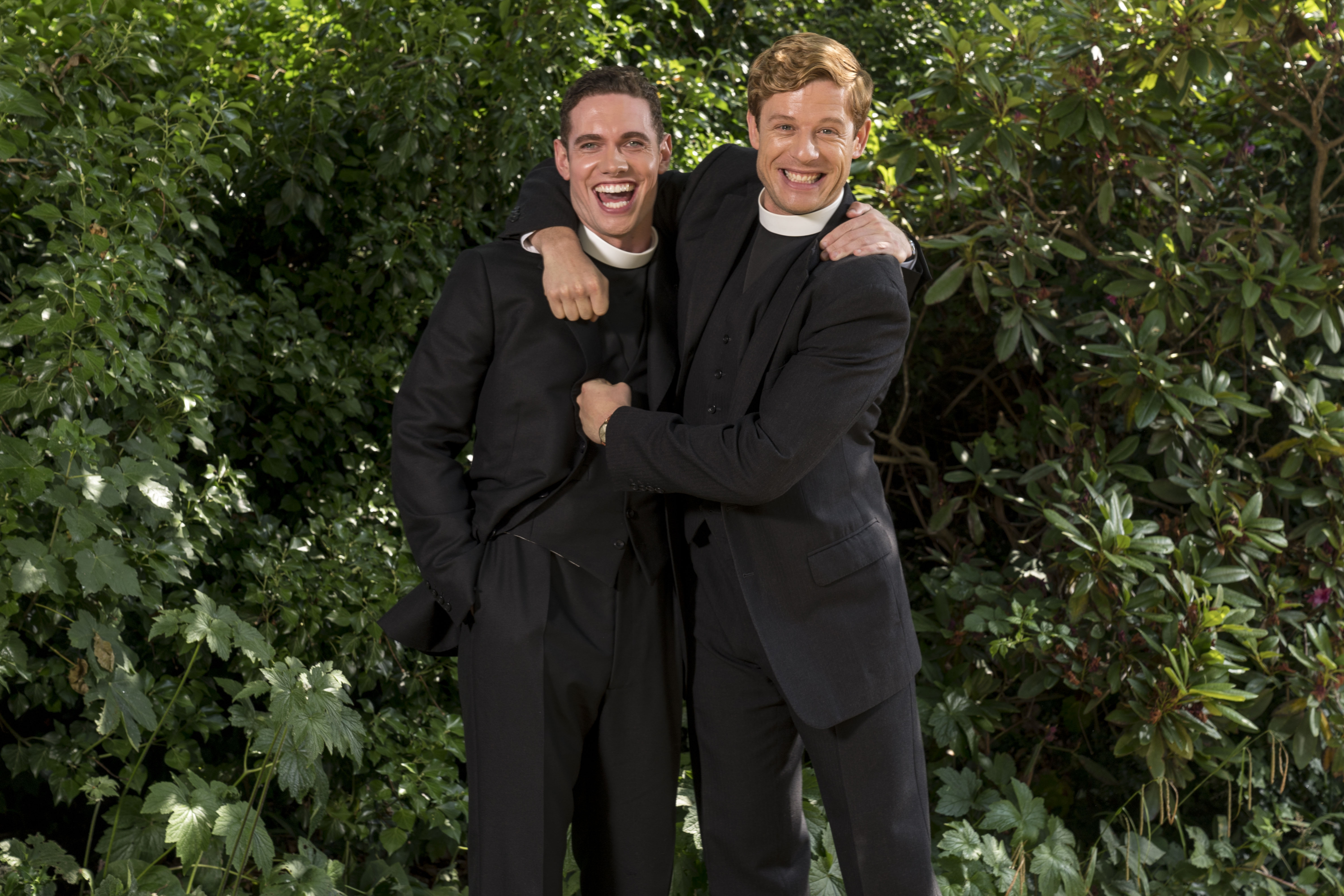 TOM BRITTANY as Rev. Will Davenport and JAMES NORTON as Sidney Chambers. (C) iTV