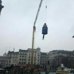 The TARDIS lands in Trafalgar Square for Doctor Who 50th filming