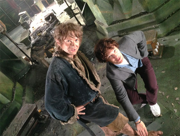Benedict Cumberbatch as Smaug admires Bilbo's feet
