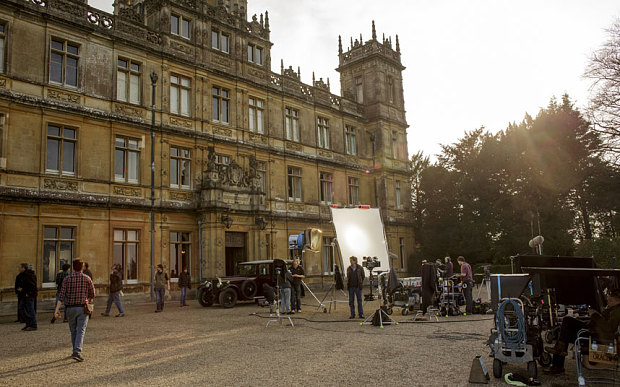 On the set of Downton Abbey at Highclere Castle for the filming of series 5