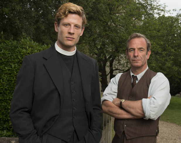 James Norton and Robson Green in Grantchester premiering Sunday on PBS
