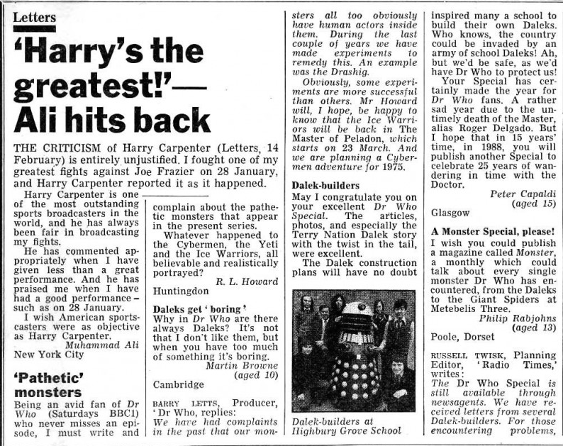 A 15-year old Peter Capaldi writes to Radio Times about Doctor Who