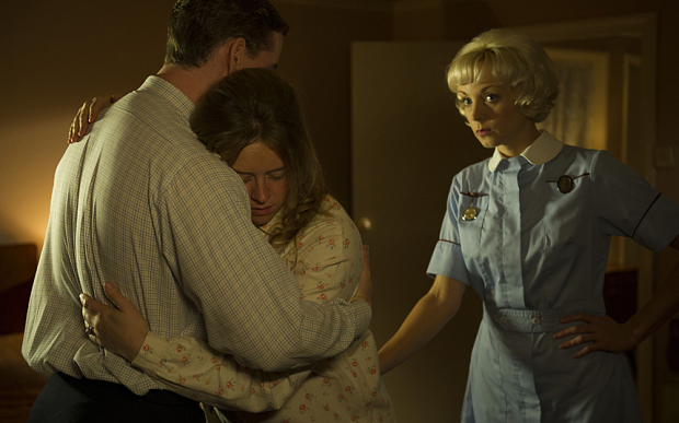 Programme Name: Call The Midwife 4 - TX: 08/03/2015 - Episode: n/a (No. 8) - Picture Shows:  Kevin Dillen (TOM CHRISTIAN), June Dillen (GENEVIEVE BARR), Nurse Trixie Franklin (HELEN GEORGE) - (C) Neal Street productions - Photographer: Lawrence Cendrowicz