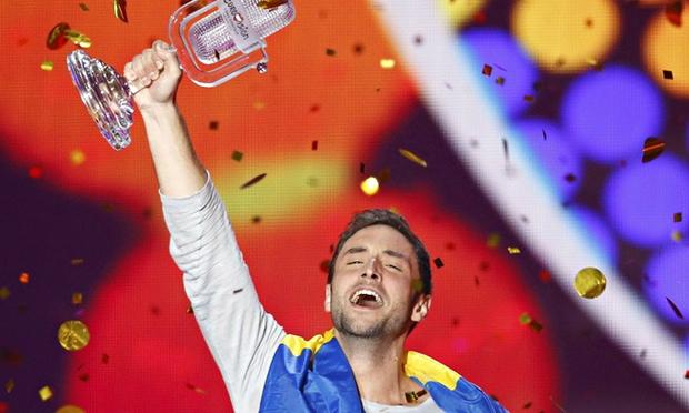 Singer Zelmerloew representing Sweden celebrates