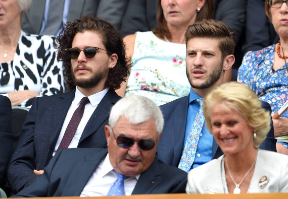 LONDON, ENGLAND - JULY 02:  Kit Harington and Adam Lallana attend the Christina McHale v Sabine Lisicki match on day four of the Wimbledon Tennis Championships at Wimbledon on July 2, 2015 in London, England.  (Photo by Karwai Tang/WireImage)