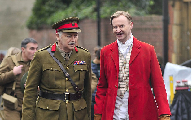 Ian Lavender and Mark Gatiss on the set of Dad's Army