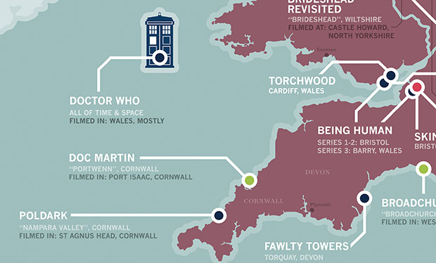 Map Of England Showing Cornwall.The Great Est British Television Map Ever Tellyspotting