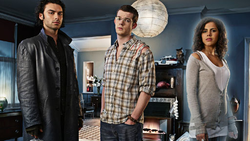 **THIS IMAGE IS UNDER STRICT EMBARGO UNTIL 00:01HRS MONDAY 15TH JANUARY 2008** Picture shows: l-r Mitchell (Aidan Turner), George (Russell Tovey) and Annie (Lenora Crichlow). (c) BBC