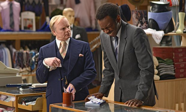 Jason Watkins as Mr. Humphries with new Grace Brothers employee Kayode Ewumi