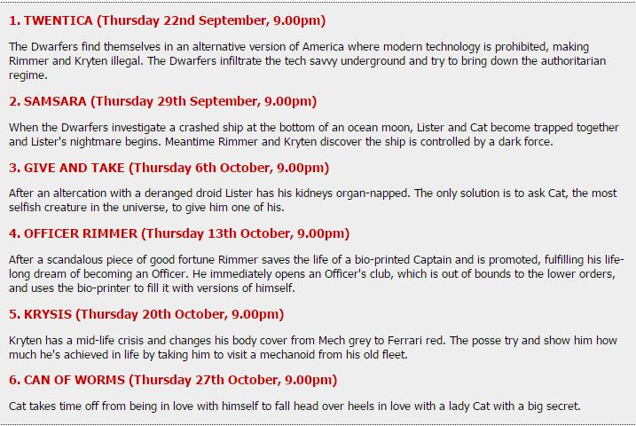RDXI schedule on Dave