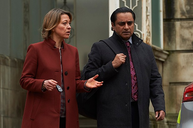 "Nicola Walker and Sanjeev Bhaskar as DCI Cassie Stuart and DI Sunil ""Sunny"" Khan in Unforgivable"