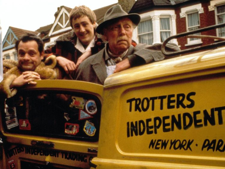 Only Fools and Horses with David Jason, Nicholas Lyndhurst and Lennard Pearce as the original Trotters