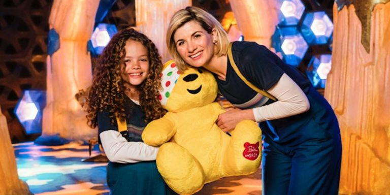 Jodie Whittaker, aka The Doctor, with a young guest