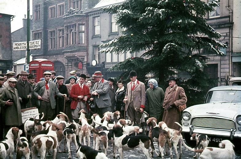 Keswick Boxing Day hunt, Keswick Market Square, Cumbria 1962