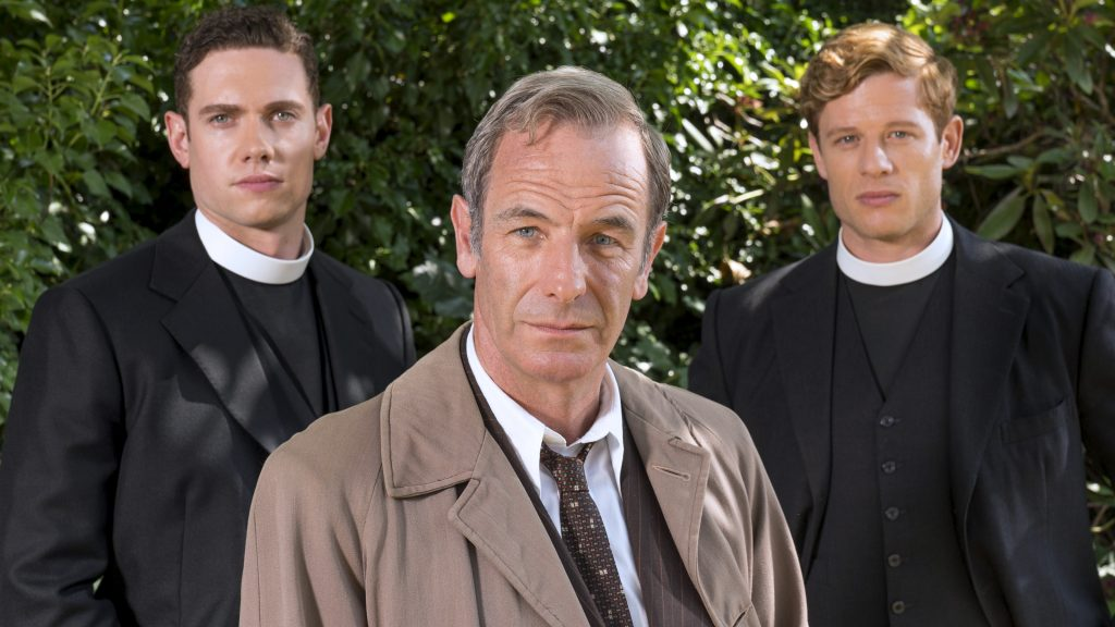 Tom Brittney as new clergyman William Davenport, Robson Green as Geordie Keating and James Norton as Sidney Chambers (Photo courtesy: PBS/ITV)