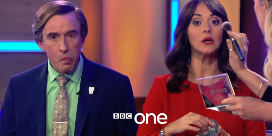 Steve Coogan as Alan Partridge and Susannah Fielding as Jennie Gresham on 'This Time with Alan Partridge'