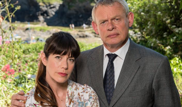 Dr. Martin Ellingham (Martin Clunes) and his wife, Louisa (Caroline Catz)