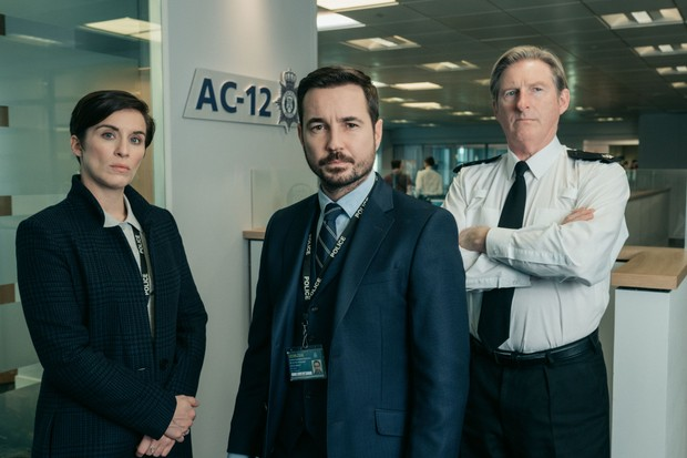 AC-12's Vicky McClure, Martin Compston and Adrian Dunbar in Line of Duty. Photo courtesy: BBC