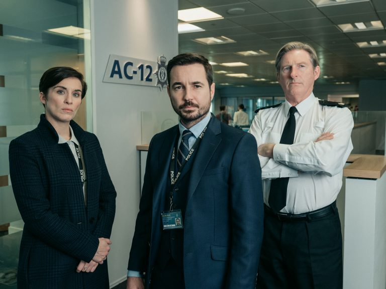 Vicky McClure, Martin Compston and Adrian Dunbar (Acorn TV)