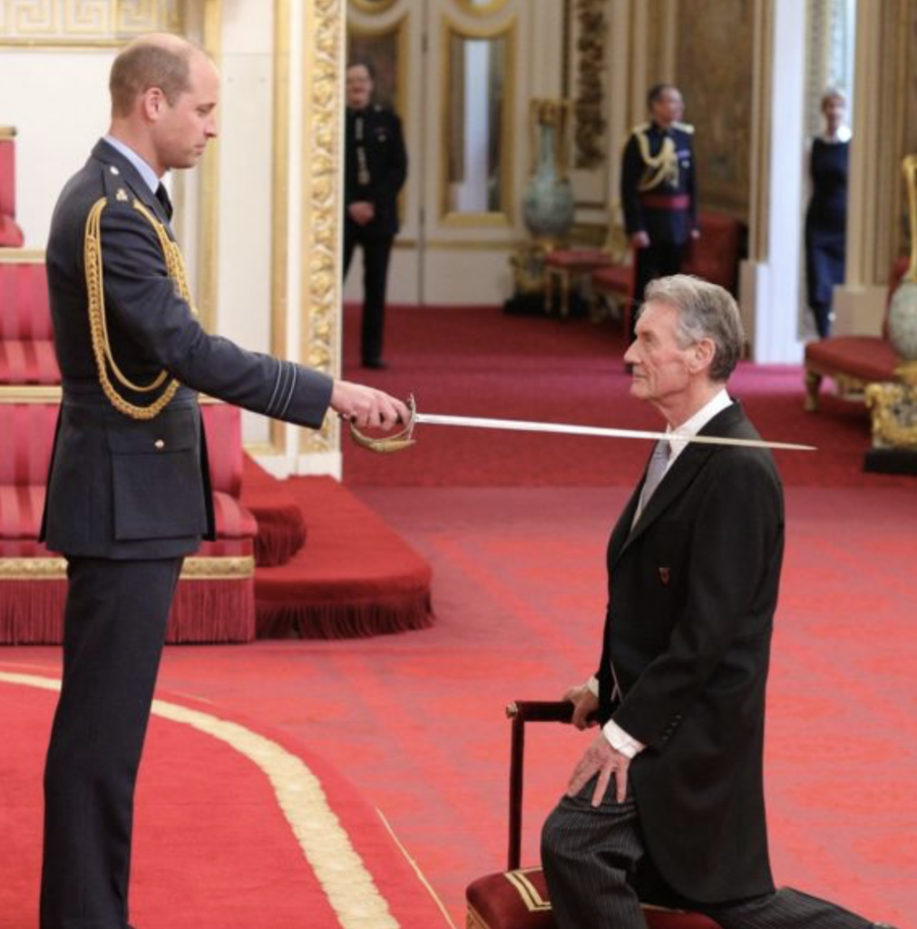 Prince William knighting Michael Palin